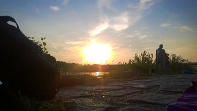 západ slunce na Dunajem